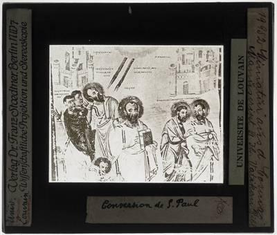 Topographia Christiana Miniatuur: St. Paul op de weg naar Damascus