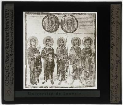 Topographia Christiana Miniatuur: Maria, Johannes de Doper, Jezus Christus, Zacharias en Elizabeth