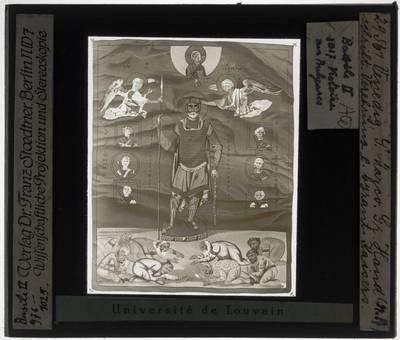 Psalter van Basilius II De Byzantijnse keizer Basilius II gekroond door engelen door God gezonden (folio 3r)