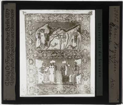 Christelijke miniatuur uit een Byzantijns handschrift (Homilieën)