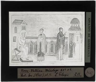 Menologium van Basilius II Miniatuur met Heilige Pelagia van Antiochië