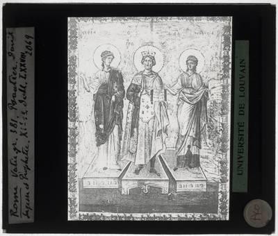 Psalter van Koning David Miniatuur met Koning David tussen Sophia en Prophetia