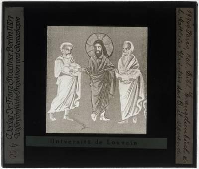 Codex Sinopensis Miniatuur met Het zegenen van het brood