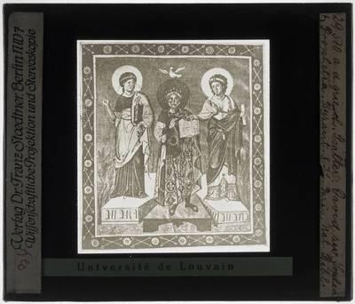 Psalter van Parijs Miniatuur met Koning David tussen Sophia en Prophetia (folio 7v)