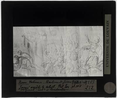 Boekrol van Jozua Miniatuur met Overwonnen koningen brengen hulde aan Jozua en Maan en Zon