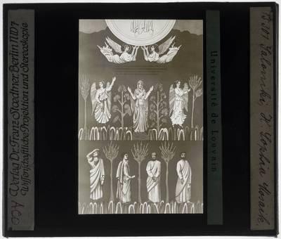 Deel van verrijzenis van Christus met Maria met twee engelen en vier apostelen
