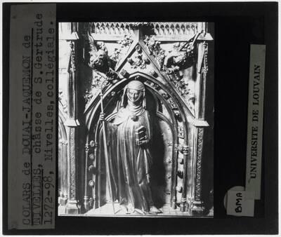 Colars de Douai. Jacquemon de Nivelles. Jacques d'Anchin. Reliekschrijn van de Heilige Gertrudis van Nijvel Detail: Heilige Gertrudis