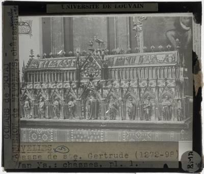 Colars de Douai. Jacquemon de Nivelles. Jacques d'Anchin. Reliekschrijn van de Heilige Gertrudis van Nijvel Lange zijde met Sint-Gertrudis