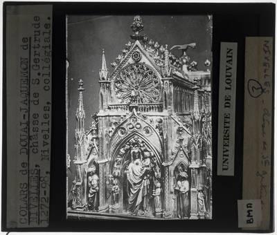 Colars de Douai. Jacquemon de Nivelles. Jacques d'Anchin. Reliekschrijn van de Heilige Gertrudis van Nijvel Korte zijde met Madonna met Kind