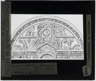 Godefroid de Huy. Schrijn van de Heilige Remaclus 17de eeuwse tekening van een korte zijde