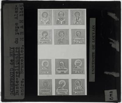 Godefroid de Huy. Reliekschrijn met hoofd van paus Alexander Detail: Medaillons van de sokkel