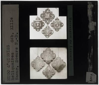 Hugo d'Oignies. Vier reliekplaatjes Voorkant en achterkant