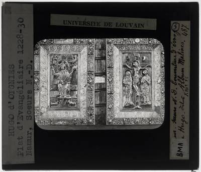 Hugo d'Oignies. Twee boekbanden Tronende Christus en Calvarie