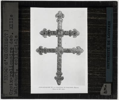 Hugo d'Oignies. Reliekschrijn van het Heilig Kruis in de vorm van een kruis Detail: Bovenste deel