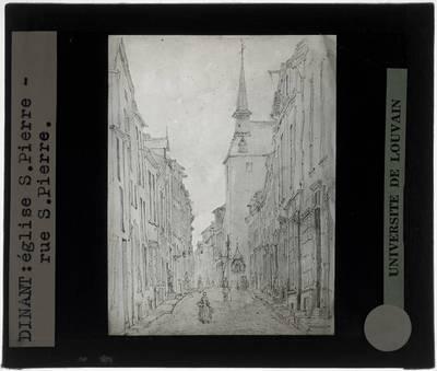 Dinant. Rue Saint-Pierre en Eglise Saint-Pierre Tekening van Pattaert