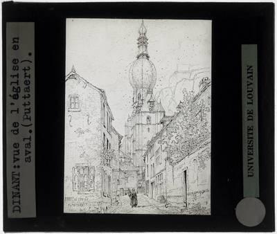 Dinant. Zicht op de Notre-Dame vanuit een omliggende straat Tekening van Pattaert