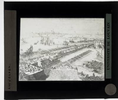 Antwerpen. Prent Scheepsbrug van Farnese