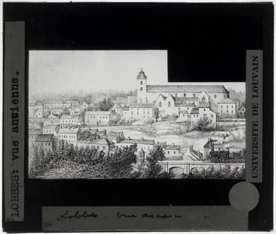 Lobbes. Panorama met Église Saint-Ursmer