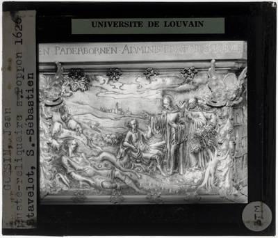 Jean Goesin. Reliekschrijn van Sint-Poppo Detail: Reliëf met scènes uit het leven van Sint-Poppo op sokkel