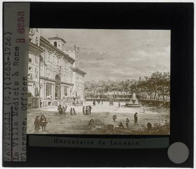Caspar van Wittel. Zicht op Rome met de villa Medici
