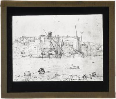 Pieter Brueghel de Oude. De Ripa Grande in Rome, met de Dogana Vecchia en de toren van de S. Maria di Turri