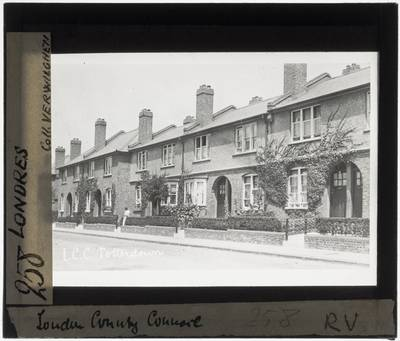 London. Tooting. Totterdown Fields Estate Street with terraced houses
