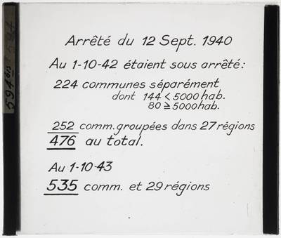 Resolution of 12 September 1940 regarding the urbanisation of certain towns in view of the reconstruction after World War II