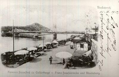 Piac a Dunaparton Budapest 1902.