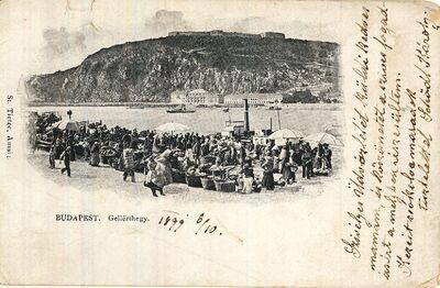 Piac a Dunaparton Budapest 1899