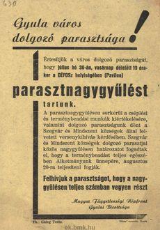 A Magyar Függetlenségi Népfront Gyulai Bizottsága parasztnagygyűlést tart