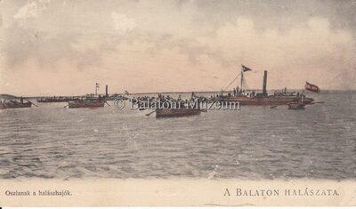 A Balaton halászata. Oszlanak a halászhajók.