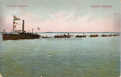 Balatoni halászat. A halászok hazatérése.