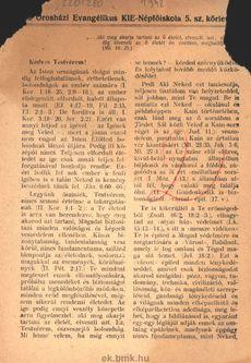Az Orosházi Evangélikus KIE-Népfőiskola 5. sz. körlevele