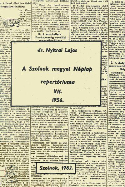 A Szolnok megyei Néplap repertóriuma, 7.