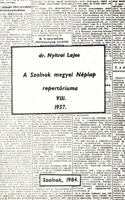 A Szolnok megyei Néplap repertóriuma, 8.
