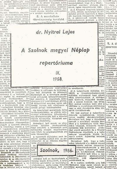 A Szolnok megyei Néplap repertóriuma, 9.