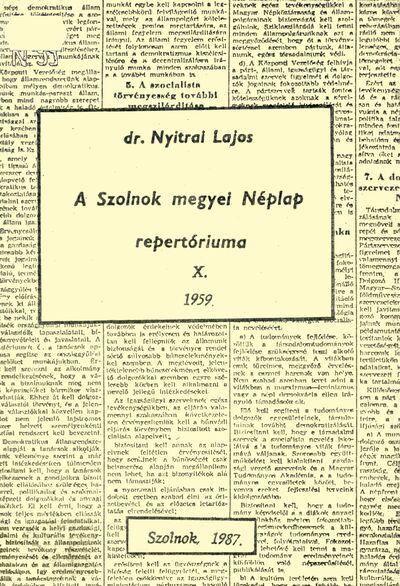 A Szolnok megyei Néplap repertóriuma, 10.