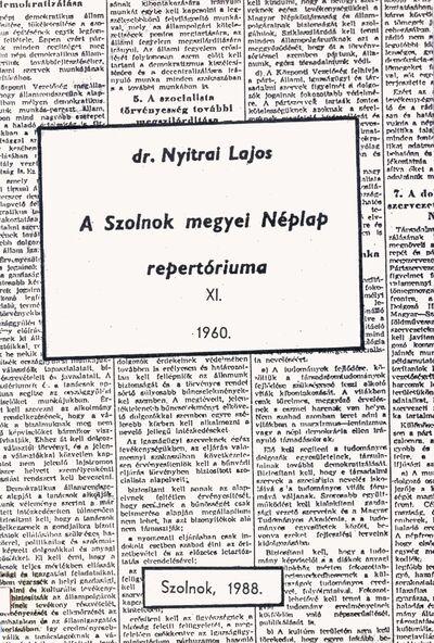 A Szolnok megyei Néplap repertóriuma, 11.