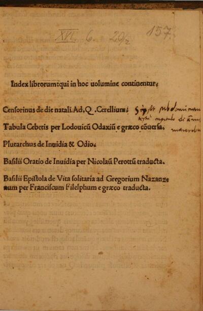 Index librorum qui in hoc uolumine continentur.