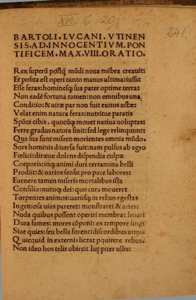Bartoli Lucani Utinensis Ad Innocentium Pontificem Max. VIII. oratio.