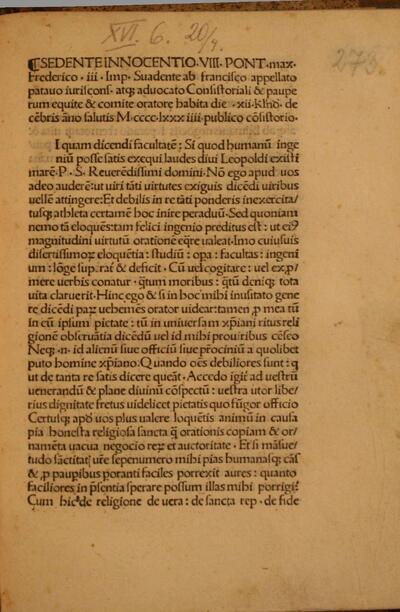 Sedente Innocentio VIII. Pont. max. Frederico III Imp. Suadente ab francisco appellato patauo iuriscons.