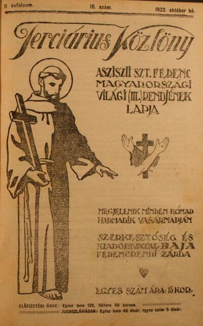 Terciárius közlöny 1922. október
