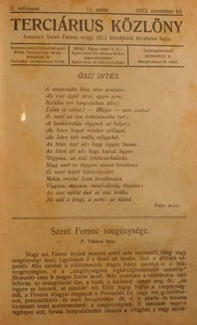 Terciárius közlöny 1922. november