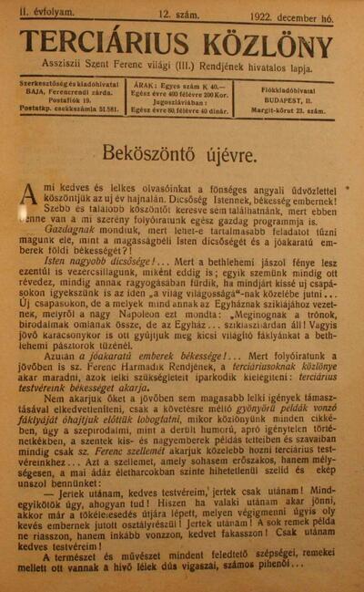 Terciárius közlöny 1922. december