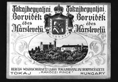 Borcímke, herceg Windischgraetz Lajos, Tokajhegyalja, 1910-1944