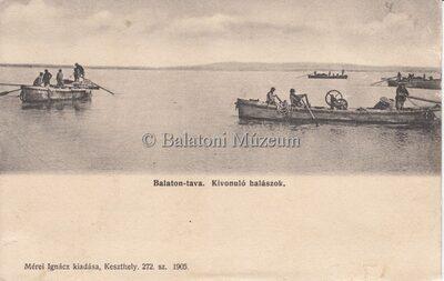 Balaton-tava. Kivonuló halászok.