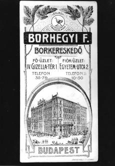 Számolócédula Borhegyi F. borkereskedő Budapest