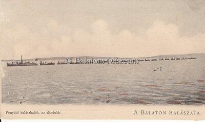A Balaton halászata. Fonyódi halászhajók, az elindulás.