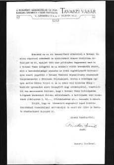 levél BKIK áruminta vásár osztály Budapest 1900-1918