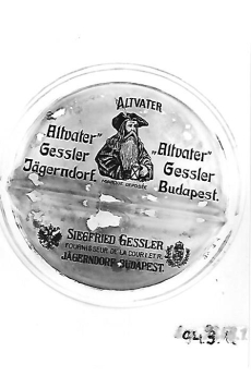 Siegfried Gessler Altvater feliratú pénztári alátét Budapest